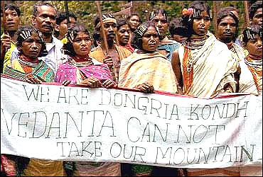 Tribals protest in Orissa.
