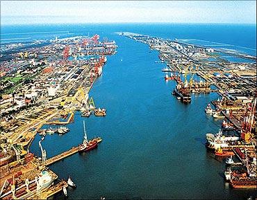 Tianjin port.