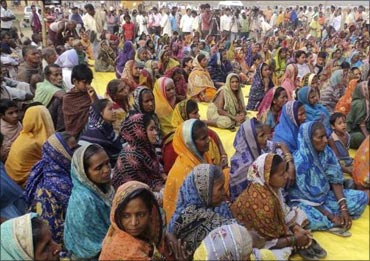 Villagers attend a protest at Balitutha village.