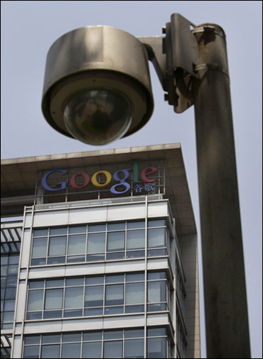 A road surveillance camera in front of the former headquarters of Google China in Beijing.