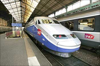 Stationary high speed trains TGV are seen in the Lyon Perrache railway station in Lyon, France.