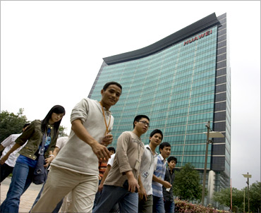 Huawei staff at global headquarters in Shenzhen.