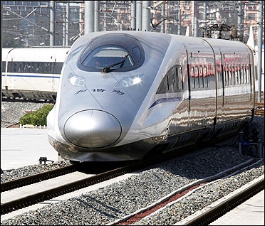 A new high-speed train arrives at the Beijing-South railway station.
