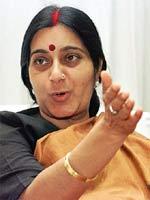 Sushma takes a dig at Pranab