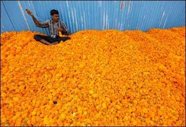 A vendor strings marigold flower garlands.