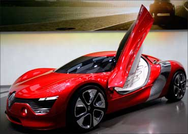 A battery-powered Renault DeZir concept car is displayed during the first media day of the 81st Geneva International Motor Show at the Palexpo on March 1, 2011.