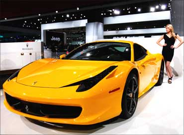 The Ferrari 458 Italia is displayed during the press days for the North American Auto Show.