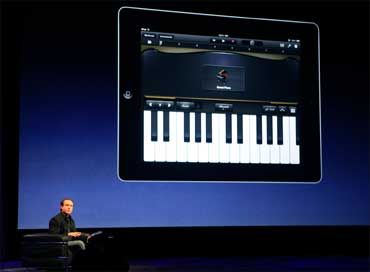 Scott Forstall, senior VP, iPhone Software, discusses the iPad2 which can be used as a musical tool.