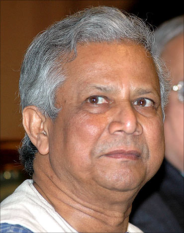 Muhammad Yunus at a special session organised by Ficci in New Delhi.
