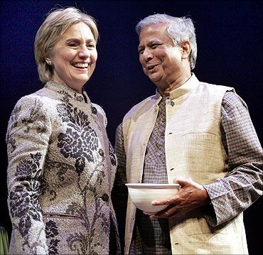 US Senator Hillary Rodham Clinton with Muhammad Yunus of Bangladesh.