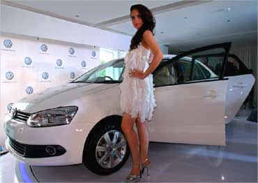 A model poses with Volkswagen's Vento.