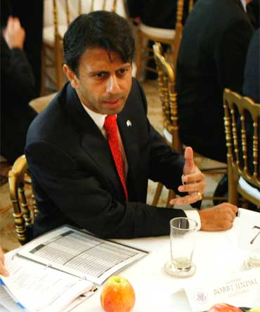 Louisiana Governor Bobby Jindal in the State Dining Room at the White House in Washington February 28, 2011.