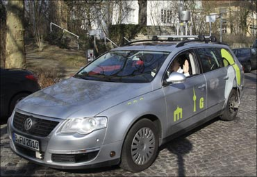 This car, named 'MadeInGermany', is a modified Volkswagen Passat and controlled by 'BrainDriver'.