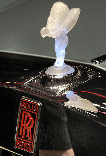 The illuminated radiator mascot, the so-called Spirit of Ecstasy or Emily.