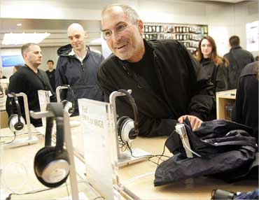 Jobs at the grand opening of the Apple Store on 5th Avenue in New York on May 19, 2006.
