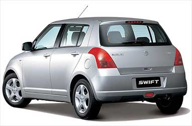 Rear view of Maruti Swift.