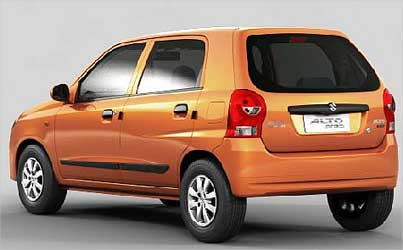 Side rear view of Maruti Alto K10.