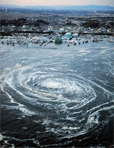 A whirlpool is seen near Oarai City, Ibaraki Prefecture, northeastern Japan.