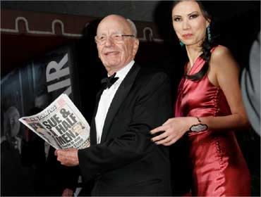 Murdoch and wife Wendi Deng at the 2011 Vanity Fair Oscar party in West Hollywood, California on February 27, 2011.