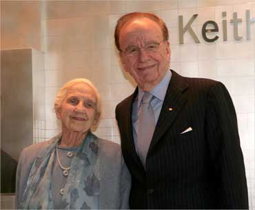 Murdoch and his mother, Dame Elisabeth Murdoch, attend the opening of a new newspaper office building in Adelaide, Australia November 16, 2005.