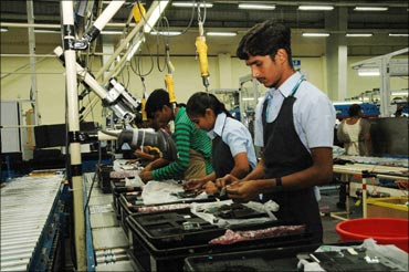 The assembly line at Dell's Sriperumbudur factory.