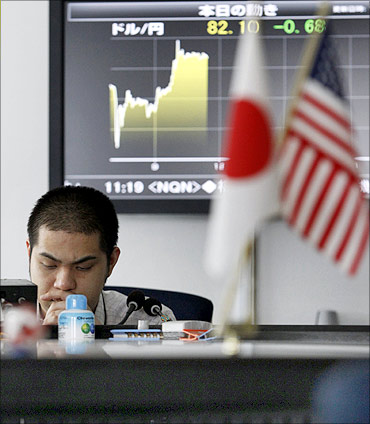 Japan is bogged down by debt and falling exports.