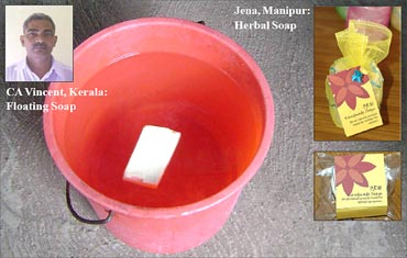Floating soap and herbal soap.
