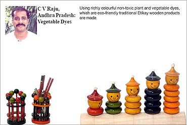 CV Raju, Vegetable dyes for wooden toys.
