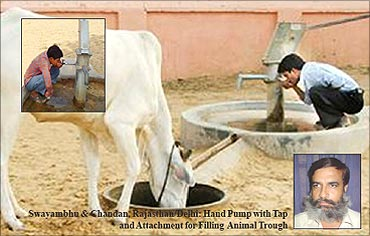 Modified hand pump with tap.