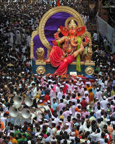 The Ganesh festival is celebrated with pomp and gaiety all over Maharashtra.