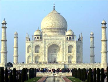 The grand Taj Mahal in Agra.