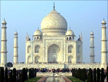The grand Taj Mahal in Agra.
