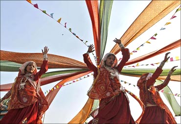 Women perform garba dance in Ahmedabad.