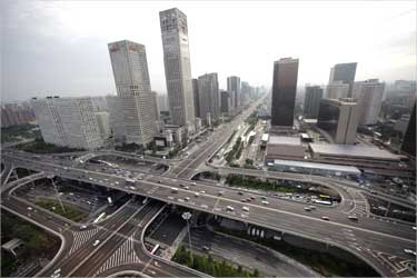 A general view of the office buildings and Guomao Bridge (bottom) in Beijing's Central Business District.