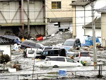 Flooded streets in Kesennuma city, in Japan's Miyagi Prefecture.