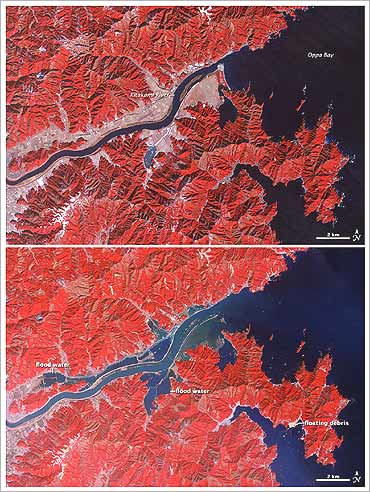 Croplands and settlements lining Kitakami River in Miyagi Prefecture seen on January 16 (top) and then on March 14 (bottom) showing ocean waters flooding many areas.