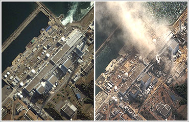A combination of handout satellite images shows the Fukushima Daiichi nuclear plant on November 21, 2004 (L) and on March 14, 2011 (R).