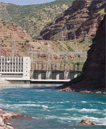 A view of the Nurek hydroelectric power plant on Vakhsh river in central Tajikistan.