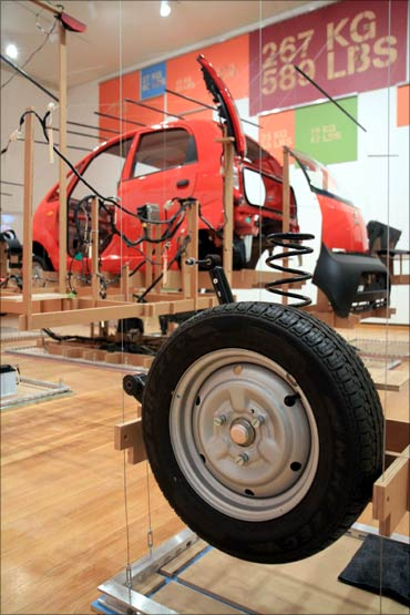 A dismantled Tata Nano at the 'Unpacking the Nano' symposium at Cornell University in Ithaca, NY.
