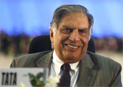 Ratan Tata speaks during the Vibrant Gujarat Global Investors Summit 2011.