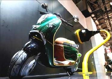 An electric bike on display at Paris Motor Show