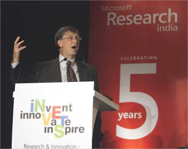 File picture of Bill Gates speaking at a symposium on Research and Innovation.
