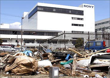 Sony's tsunami-crippled warehouse is seen near Sendai port.