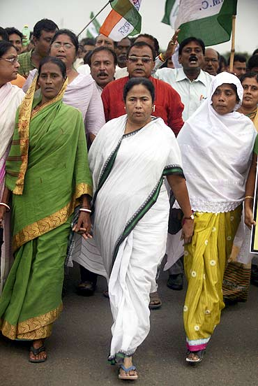 Mamata Banerjee at a protest march in Singur.