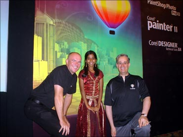 Sindhuja with Corel executives.