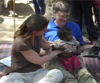 Bill Gates and wife Melinda in Bihar.