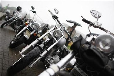 Harley Davidson motorbikes are pictured during the Friendship Ride Germany 2010, a Harley-Davidson motorcycle meeting in Gersfeld near Fulda