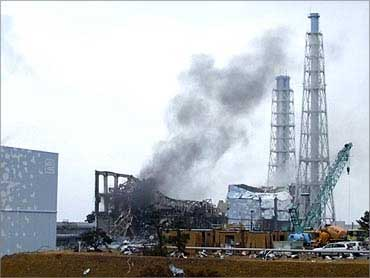 Smoke coming from the area of the No. 3 reactor of the Fukushima Daiichi nuclear power plant.