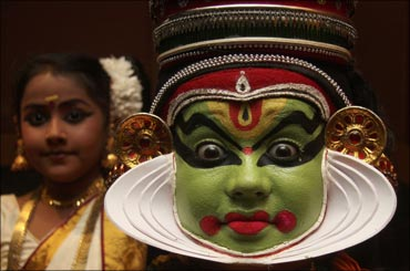 A Kathakali dancer performs during a cultural programme in Kochi.
