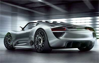 Rear view of Porsche 918 Spyder.